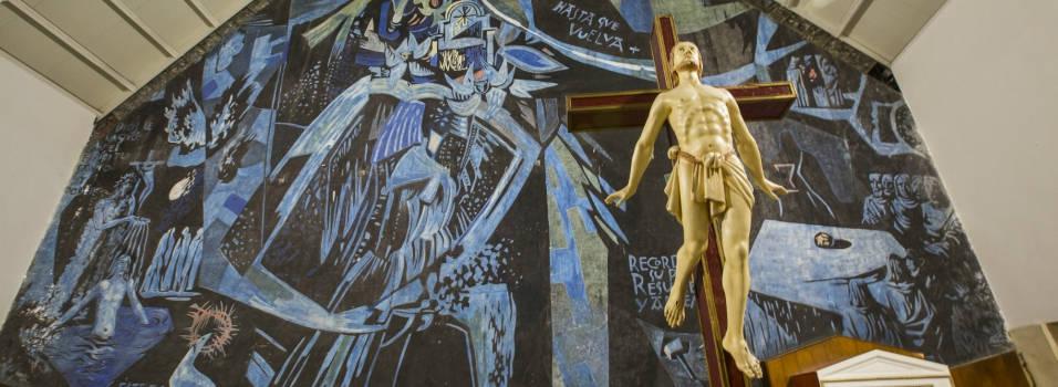 La historia detrás del mural de la iglesia de Los Alpes