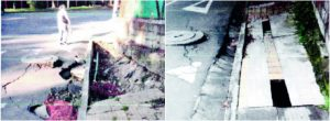 Vecino denuncia andén hundido en Los Bernal