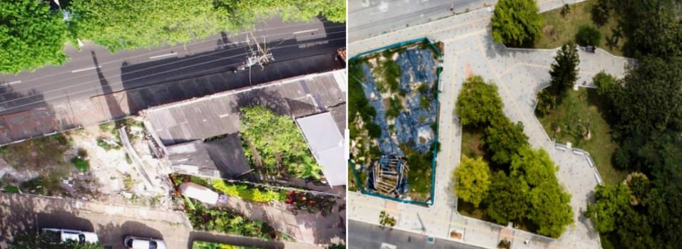 El antes y el después del parque de La Fecundidad