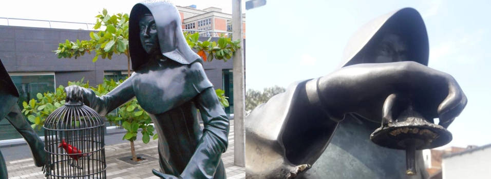 Se robaron la jaula de la escultura de la Biblioteca Débora Arango