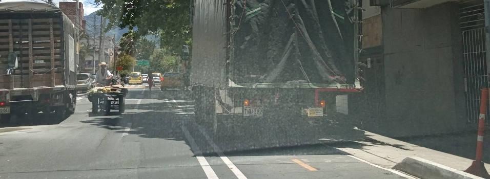Vecino denuncia camiones parqueados en ciclorruta de San Joaquín
